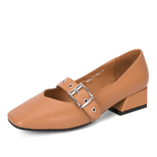 AOKANG 2018 Summer Women shoes genuine leather ladies shoes fashion pumps women brown