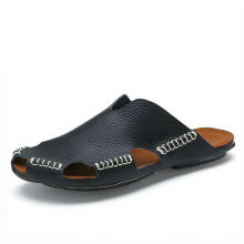 Jantens Summer Men Sandals Genuine Split Leather Men Beach Sandals