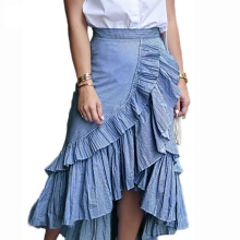 Jantens retro long skirt summer 2018 women high waist asymmetric ruffled irregular stripes pleated skirt