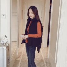 Female Winter Short Warm Cotton Vest Sleeveless Loose Waistcoat with Button black S