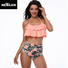 Newlan High Waist Women Swimwear Ruffle Vintage Bikini Swimsuit