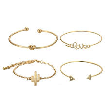 Farfi 4Pcs/Set Vintage Knot Cactus Wrist Bangle Women Bracelet Charm Jewelry Decor Golden