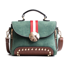 Jantens Women leather brand large casual handbag fashion messenger bag Sac a main ladies rivet handbag Green