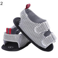 Farfi Toddler Boys Anti-Skid Striped Canvas Baby Crib Shoes Sandals