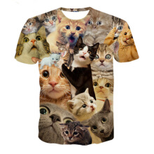 Fashionmall Small Asia Size women men Summer 3d t-shirt funny cat animal print tee tops S-XXL