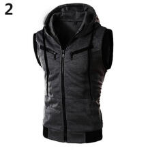 Farfi Men's Sleeveless Casual Zipper Slim Fit Sport Training Hooded Vest Coat