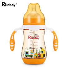 Aosen  Rluckey SU011 240ml Baby Bottle Wide Caliber PPSU Silicone PP Straw Handle Drinking Training Cup