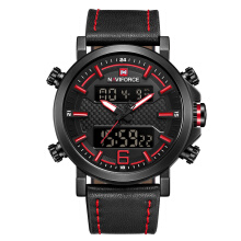 NAVIFORCE 9135 New Men's Fashion Sport Watch Men Leather Waterproof Quartz Watches Male Date LED Analog Clock Relogio Masculino Red