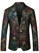 Fashionmall Colorful Scales Pattern Blazer and Pants Twinset