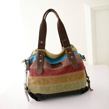 YOOHUI Canvas Bags Casual Patchwork Handbag Shoulder Bags Big Shopping Stripe rainbow bag Photo Color