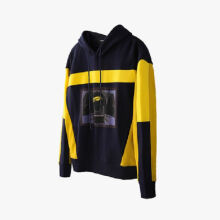 Ins V-428 Trendy brand new Korean version of the autumn and winter hooded jacket female Hip hop jacket-Blue&Yellow S