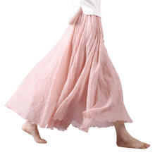 Farfi Fashion Solid Color Women Casual Party Linen Cotton Soft Long Maxi Skirt Dress