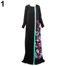 Farfi Women Floral Print Kaftan Abaya Jilbab Islamic Muslim Long Sleeve Maxi Dress