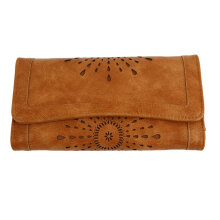 [LESHP]Stylish Vintage Women PU Leather Clutch Purse Carved Hollow Ladies Wallet Brown