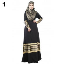 Farfi Women Kaftan Abaya Jilbab Islamic Muslim Long Sleeve Maxi Dress National Dress