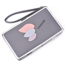 [LESHP]Fashion Patchwork Leave Stitching Handbag Tote Small Clutch Wallet Purse Grey