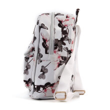 [LESHP]Women Floral Printed PU Leather School Bookbag Travel Shoulders Bag Backpack White