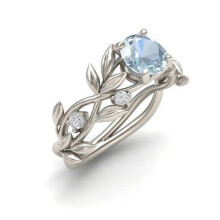 Jantens Crystal Flower Vine Leaf Design Rings Femme Ring Vintage Statement Jewelry SLIVER