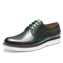 AOKANG 2018 New Arrival Men Shoes leather genuine Brogue Shoes fashion dress shoes hard-wearing derby shoes green