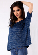 ANDIEN loose t-shirt with dolman sleeve Blue All Size
