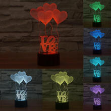 Farfi 3D Illusion Love Heart Shape LED Night Light Couple Room Table Lamp as the pictures