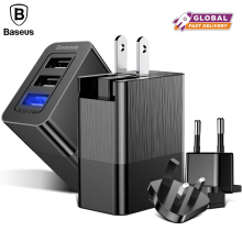 Baseus 3 Port USB Charger Adapter 3-in-1 Replaceable Plug Protable Travel Wall Mobile Phone Charger Plug - Black 3 in 1