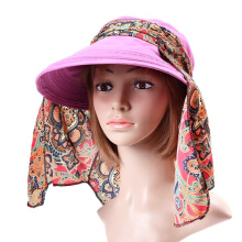 Zanzea 0051Women Ladies Polyester Sunshade Hat Face Neck Protective Fishing Outdoor Gradening Cap Orange