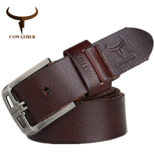 COWATHER Top Cow genuine leather belts for men alloy buckle fashion style FULL GRAIN male belt