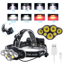 Boruit 3*T6+2*XPE+2*COB 7 LED MICRO USB Headlamp Headlight Head Torch Lamp  Riding  adventure Camping mountain climbing