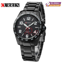 CURREN Top Brand Design Business Quartz Watches Men Luxury Full Steel Wristwatch 8107