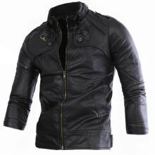 Farfi Vintage Men Stand Collar Solid Color Faux Leather Jacket Long Sleeve Zipper Coat