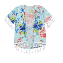 BESSKYM Mom&Me Baby Girls Flower Shawl Kimono Cardigan Tops Family Outfits Clothes_