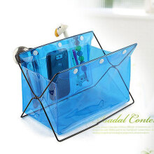 Honana HN-B20 Multifunctional Desk Organizer Colorful PVC Comsmetics Staionary Storage Box Blue