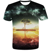 Fashionmall Space Galaxy Hip hop T-shirt 3d Print Nightfall Tree Summer Tops Tees T shirt
