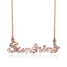 SESIBI Letter Sunshine Pendant Necklaces Women clavicle chain Korean Zircon choker Jewelry Girl Christmas -Rose Golden