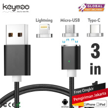 Keymao Magnetic Phone Kabel Data Type-C Micro USB Lighting Charger Cable 3-in-1 for iPhone  iPad Samsung