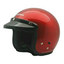 Cargloss Retro  Helm Half Face - Deep Red Met