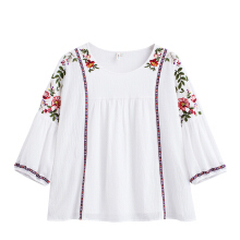INMAN 1882012363 Blouse Women Retro Round Neck Pullover Embroidery Summer Blouse