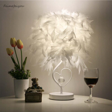 Jantens Bedside reading room living room heart-shaped feather crystal table lamp white