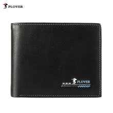 [LESHP]PLOVER GD5926-6A Men Cow Leather Short Wallet Card Holder Coin Money Purse Black