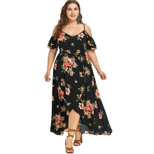 Jantens Female Summer Large Size Off Shoulder Floral Overlapping Half Sleeve Floral Print Beach Dress Robe