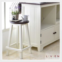 Kursi Bangku Bulat French Country - 60 cm - LIVIEN FURNITURE