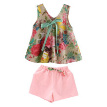 [COZIME] Summer Kids Girls Outfits Sleeveless Fashion Floral Print Dress With Shorts Multicolor1  110
