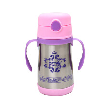 SiYing Large-capacity princess vacuum insulated water bottle 360ML baby water cup pink