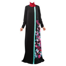 COZIME  Loose Style Floral Printed Long Sleeve Women Islamic Long Dress Muslim Robe Black Size L