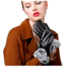 SiYing fashion leather gloves plus velvet thick warm ladies driving cycling gloves