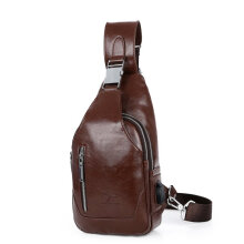[COZIME] Stylish Men Chest Bag PU Leather Casual Business Cross Body Bag Outdoor Bag Black1