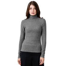 FACTORY OUTLET LO1709-0007 Women Sweatshirt Ls Turtle Neck - Grey