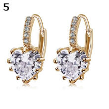 Farfi Women Elegant Cute Shiny Love Heart Rhinestone Inlaid Ear Studs Hoop Earrings
