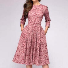 Women Elegent A-line Vintage Printing Party Vestidos Dress_Pink_L